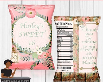 Sweet 16 Birthday Party, Sweet 16 Party, Pink Party, Wedding, Baby Shower, Chip Bag, Custom Chip Bag, Digital or Printed and Shipped