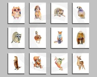Nursery Print Set, Woodland Prints, Animal art, Watercolor Painting, Kids Art, Childrens  Art Prints
