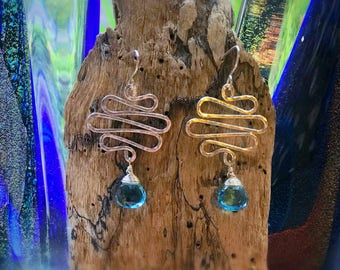 Sterling Silver Celtic Wave Earrings with Blue Topaz