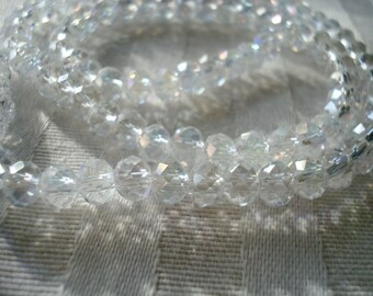 4x6mm Clear AB Faceted, Crystal Rondelles with Rainbow Plating. 98pcs Shimmer Like Snow!   ~USPS Standard Ship Rates from Oregon
