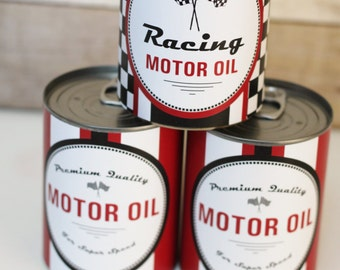 PERSONALIZED Motor Oil Can Wrappers Party Decoration Vintage Race Car party