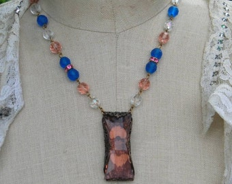Pink Art Deco Glass Necklace Vintage Assemblage Rhinestone Blue Beaded Estate Style Heirloom Jewelry
