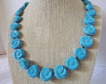 Carved Turquoise Necklace Set