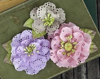 Neu: Prima Diadem - Sugarplum 567170 Öse Baumwolle Stoff Blumen mit Staubblatt Center.