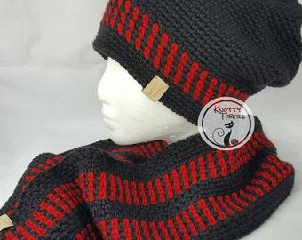 "Men's Hat-N-Scarf Set-Crocheted/""Tracks"""