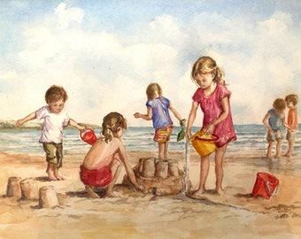 Children playing on the beach original watercolour