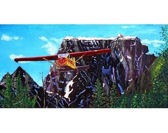 Gift for Pilot, Alaska Bush Airplane and Mountains Painting, Aviation Painting, Alaska Wedding Gift, Wrangell Mountains, De Havilland Plane