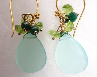 Elegant Emerald and Chalcedony Earrings