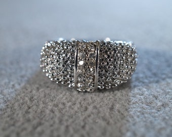 Vintage Silver Tone  Multi Rhinestone Bold Wide Domed Cigar Band Style Wedding Band Ring, Size 10