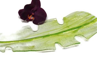 Banana Leaf Bowl, Fused Glass, Tropical Bowl, Tropical Decor, Glass Leaf Bowl, Housewarming Gift, Home Decor