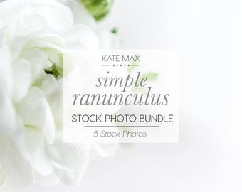Simple White Ranunculus / Styled Stock Photos / 5 KateMaxStock Flower Branding Images for Your Business