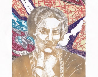 Linocut portrait of trailblazing Canadian geologist and paleontogist Alice Wilson with geological map