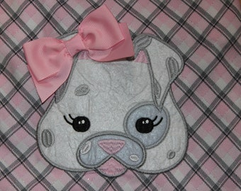 VTG Puppy Dog Embellished Pink Gray White with Pink Grosgrain Ribbons Ruffled Hem Jumper Dress - SZ. 6 YR