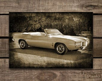 Photo on Wood Print 16x24  Your Car on re-purposed Wood Siding for Indoor/Outdoor Wood Plank Wall Art