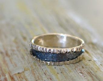 Texture band Ring - Sterling silver band ring