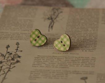 green gingham wooden love heart silver stud earrings