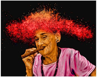 Cuba photography, Havana Cuba, woman with cigar, Cuba print art, Cuban, cigar art, Cuban cigar lady, smokeshop, smoker, cigar photography
