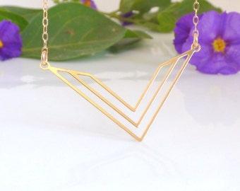 V Necklace, Gold V Necklace, Geometric Necklace, Gold Geometric Necklace, Triangle Necklace, Gold Triangle Necklace ,Triangle Jewellery.