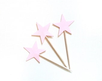 24 Pink Star Cupcake Toppers, Party Decor, Wedding, Baby Shower, Birthday, Double-Sided