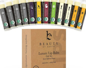 Beauty by Earth Organic Lip Balm Set; 12 Pack of Long Lasting Pure Natural Beeswax Chapstick; Assorted Moisturizing Flavors for a Clear...