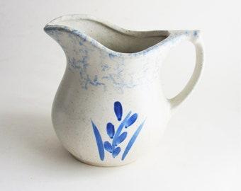 Vintage Roseville Pottery Pitcher Milk Pitcher Blue Cream Spongeware Blue Wheat Design