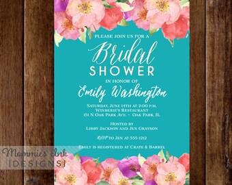Bridal Shower Invitation, Watercolor Flowers Invitation, Floral Invitation, Watercolor Floral Invitation, DIY, Floral Invite