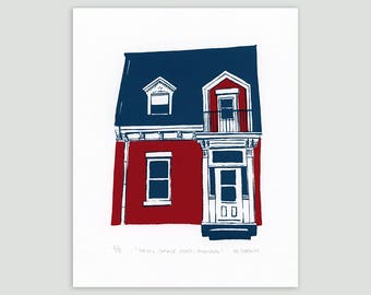Montreal House in Red/Indigo – Limited Edition Screenprint