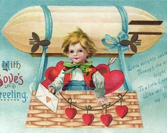 Valentines Day Card - Boy Rides Zeppelin - Clapsaddle Valentine