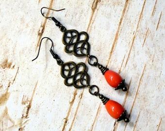 Orange Teardrop Earrings (2496)