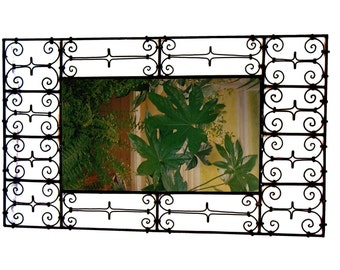 """Large Moroccan wrought iron mirror 33 1/2"""" by 19 1/5"""""""