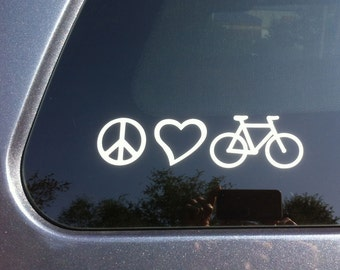 FREE SHIPPING - Peace, Love, Bicycle car sticker car decal