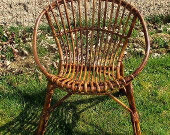 Mid Century Modern Rattan Round Hoop Chair Wicker Authentic Child era Rohé