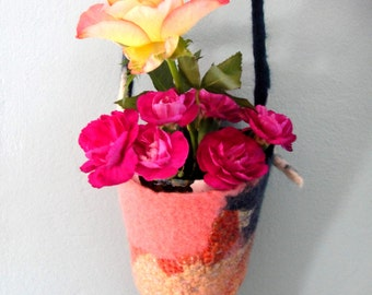 Hanging Plant Pod - Pink & Blue Nuno Felted