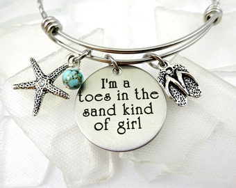 Toes In the Sand Necklace or Bangle Bracelet- Beach Vacation - Starfish Flip Flops - Engraved Stainless Steel