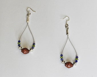 Handmade Paper Bead & Guitar String Earrings - Seahawks