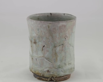 Faceted Shino Glazed Yunomi fired in an Anagama Kiln