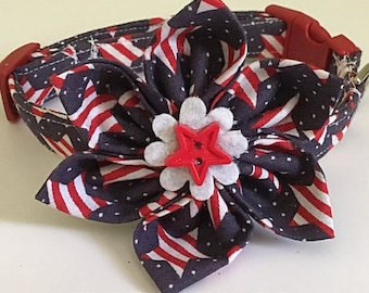 Red, White & Blue Patriotic Girl Dog and Cat Flower Collar