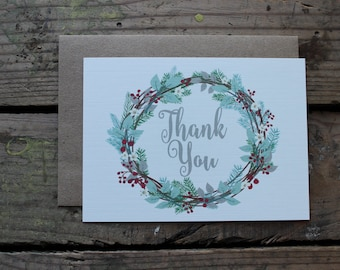 Christmas Wreath Thank You Cards with Envelopes / Holiday / Christmas Card / Rustic / Country
