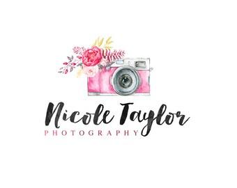 Vintage Camera Logo, Flower Logo, Photography Logo, Small Business Logo, Photographer watermark n033