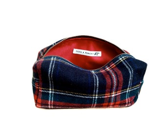 Cosmetic Bag from Stewart Plaid Suit with Leather - Small