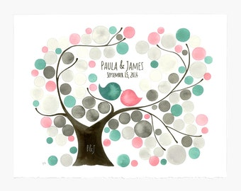 Mid century modern Wedding Guest book tree alternative print - OVAL GARDEN TREE Watercolor gift