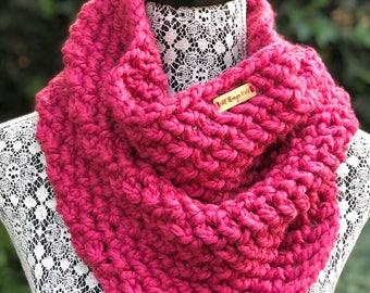 Cowl Infinity Scarf // Raspberry Pink // Handmade Crochet Chunky Knit - READY TO SHIP