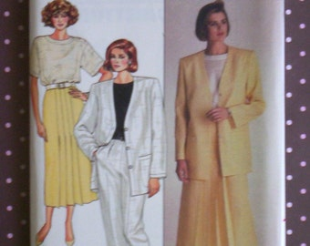 Vintage 1980s Sewing Pattern - Butterick 3695 - Misses' Jacket, Skirt, Pants And Top (Size 14-16-18) - Sewing Supplies