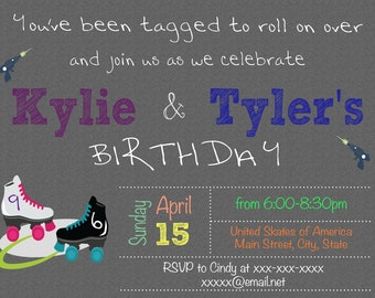 Roller Skating and Laser Tag Party Invitation