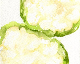 Cauliflowers watercolor painting original, Vegetable watercolors, 5 x 7, small kitchen decor, cauliflower wall art, original painting