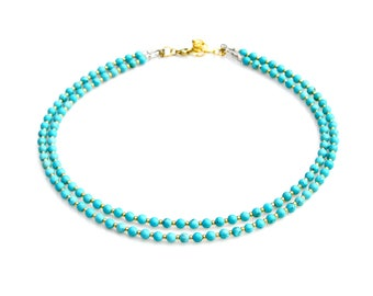 Turquoise Necklace Double Strand Choker Style Lush Blue Gold Petite Gem Beads Statement Style Boho Chic Everyday Wear by Mei Faith