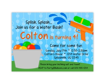 Water Party Invitation - Blue Polka Dot Sky, Rainbow Water Balloons, Water Gun Personalized Birthday Party Invite - Digital Printable File