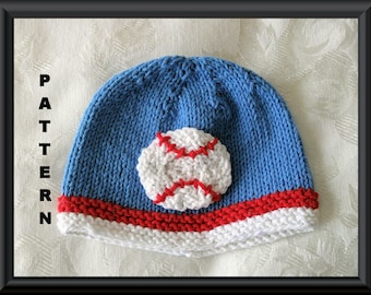 Knitted Hat Pattern Baby Hat Pattern Newborn Hat Pattern Infant Hat Pattern Baseball Hat Pattern : BASEBALL