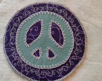 Vintage Fabric Peace Sign Patch