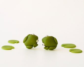 Frog post earrings - Spring collection - pond creatures - green white - fun animal jewelry for nature lovers